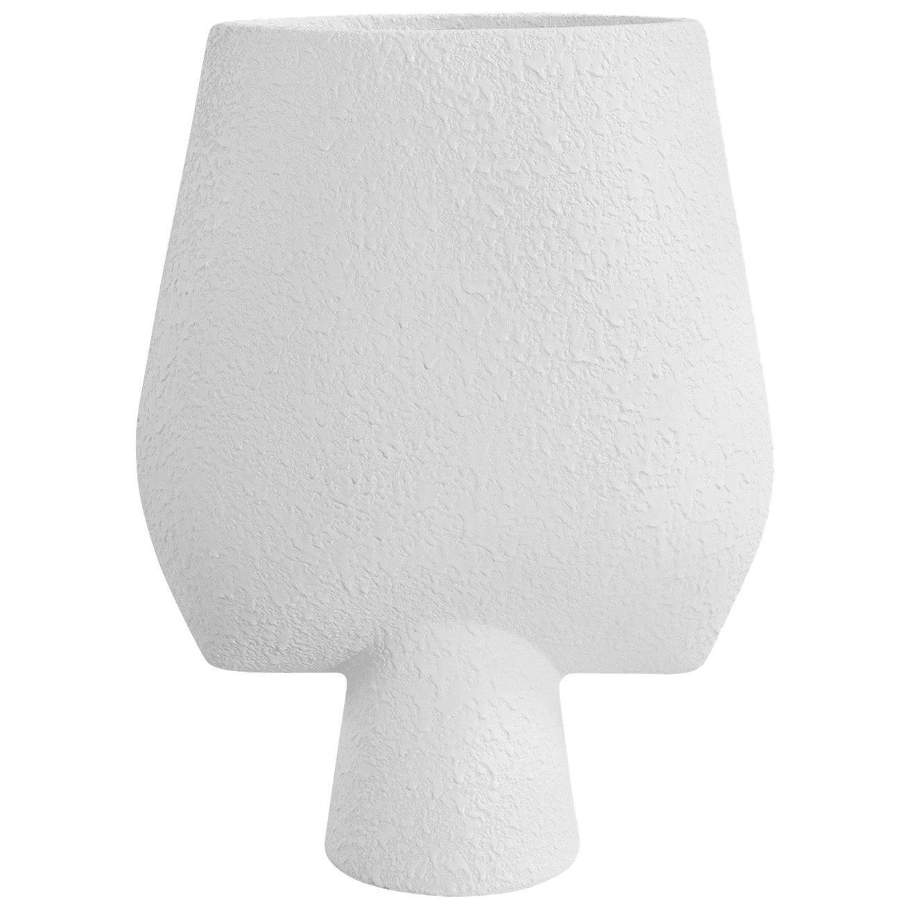 Textured White Arrow Shaped Ceramic Danish Design Vase, Denmark, Contemporary