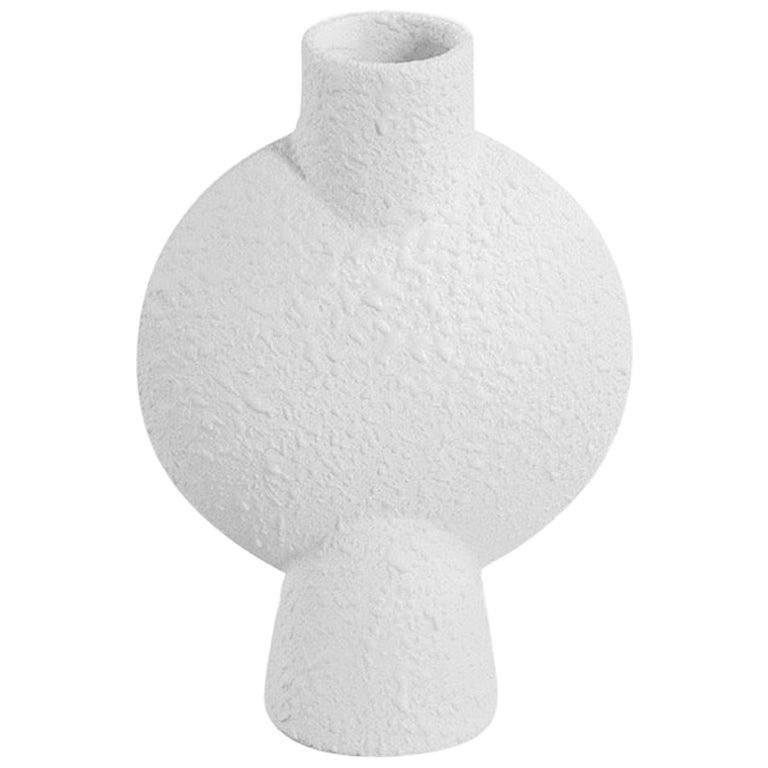 Textured White Bubble Shaped Ceramic Vase, Denmark, Contemporary