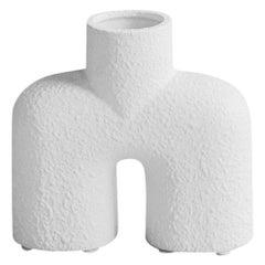 Textured White Center Spout Ceramic Small Vase, Denmark, Contemporary