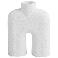 Textured White Center Spout Ceramic Vase, Denmark, Contemporary