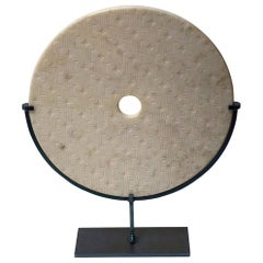 Textured White Marble Disc Sculpture, China, Contemporary