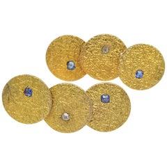 Gold Disc Earrings Texture Sapphires Diamonds