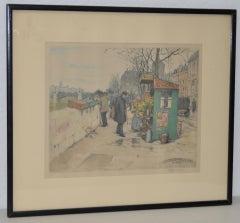 """T.F. Simon """"Seine Flower Vendors"""" Color Lithograph c.1920"""