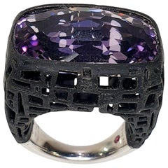 TFS by Roberto Coin 5.10 Amethyst Black Silver and Black Rubber