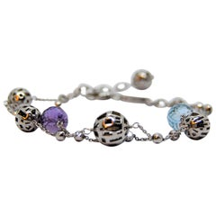 TFS, Roberto Coin 5.10 Multifaceted Balls of Topaz and Amethyst Silver Bracelet