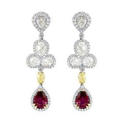 TGL Certified Extraordinary Ruby & Fancy Yellow Diamond Drop Earrings '6.89Cttw'