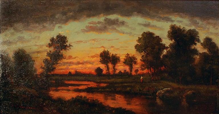 Théodore Rousseau Landscape Painting - Soleil Couchant