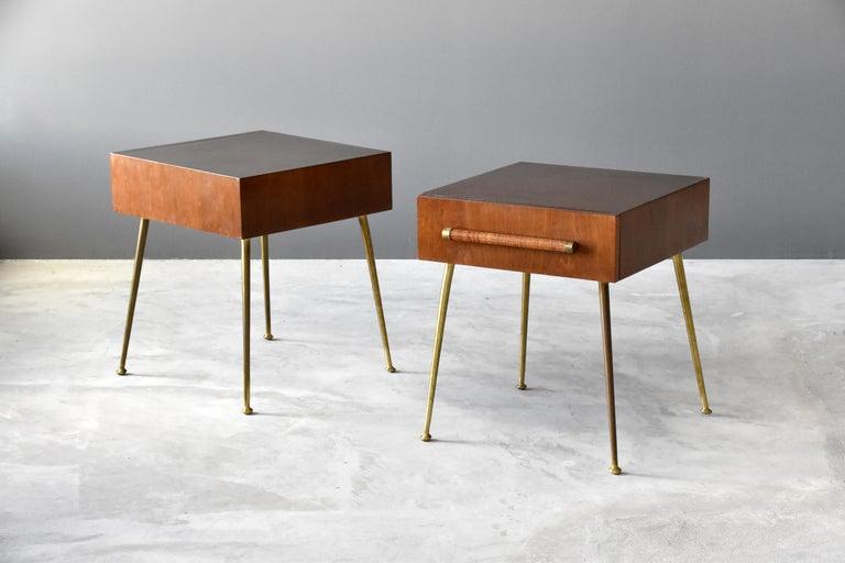 Mid-Century Modern T.H. Robsjohn-Gibbings, Bedside Cabinets, Walnut, Rattan, Widdicomb, 1950s For Sale