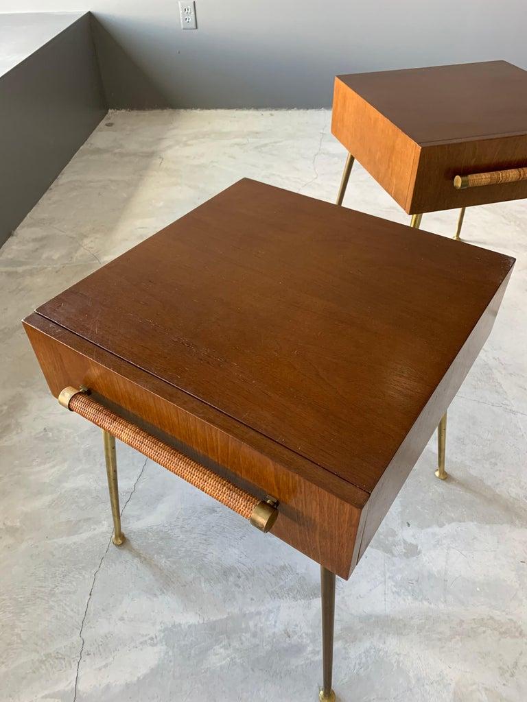 Mid-20th Century T.H. Robsjohn-Gibbings, Bedside Cabinets, Walnut, Rattan, Widdicomb, 1950s For Sale