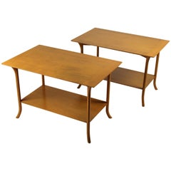 T.H. Robsjohn Gibbings Bleached Mahogany Sabre Leg Side Tables for Widdicomb