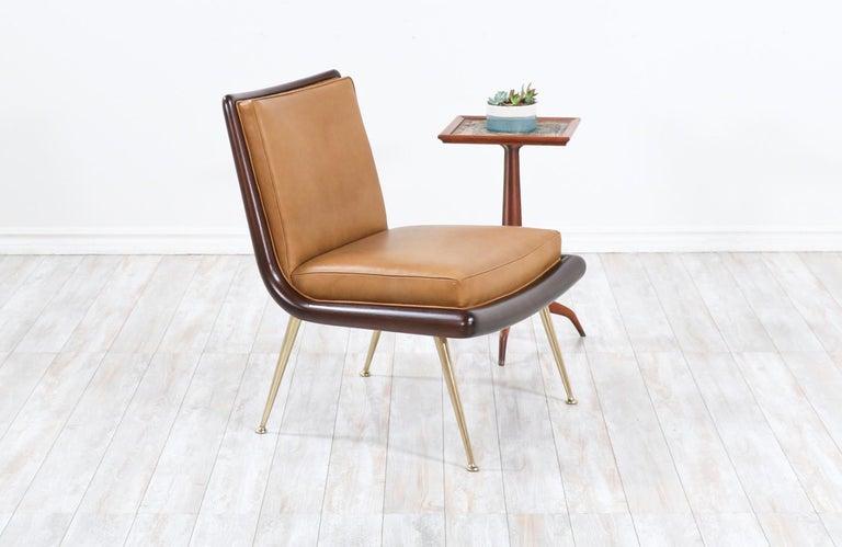 T.H. Robsjohn-Gibbings brass accent lounge chair for Widdicomb.