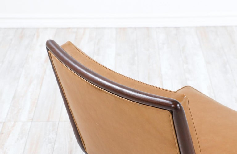 Mid-20th Century T.H. Robsjohn-Gibbings Brass Accent Lounge Chair for Widdicomb For Sale
