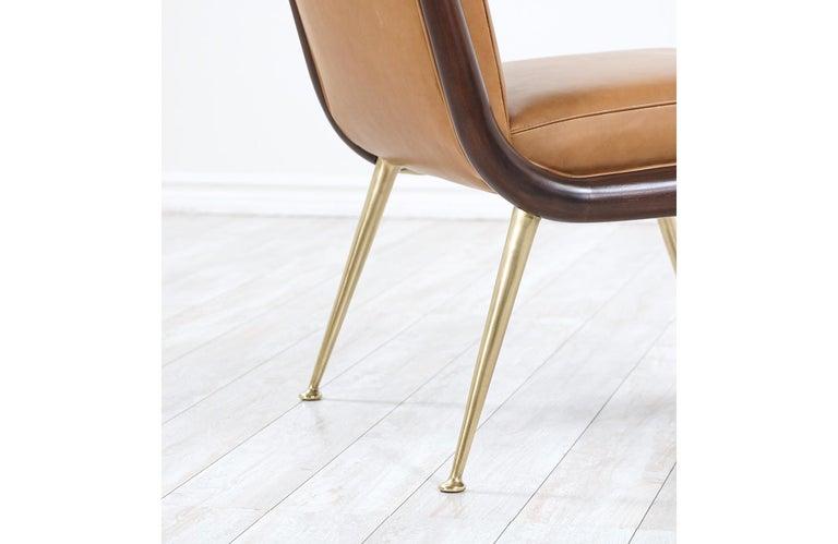 T.H. Robsjohn-Gibbings Brass Accent Lounge Chair for Widdicomb For Sale 1