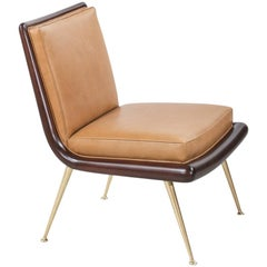 T.H. Robsjohn-Gibbings Brass Accent Lounge Chair for Widdicomb