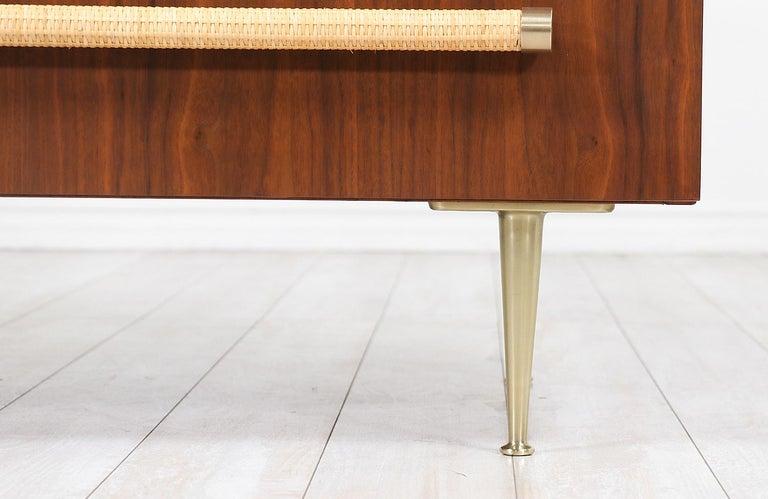 T.H. Robsjohn-Gibbings Brass and Wicker Dresser for Widdicomb For Sale 4
