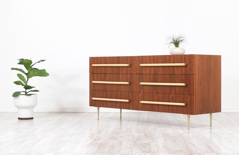 Mid-Century Modern T.H. Robsjohn-Gibbings Brass and Wicker Dresser for Widdicomb For Sale