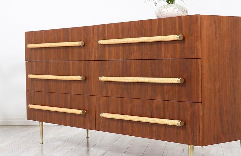 T.H. Robsjohn-Gibbings Brass and Wicker Dresser for Widdicomb For Sale 1