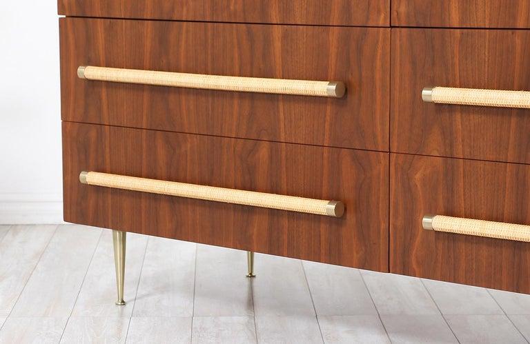 T.H. Robsjohn-Gibbings Brass and Wicker Dresser for Widdicomb For Sale 2