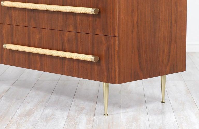 T.H. Robsjohn-Gibbings Brass and Wicker Dresser for Widdicomb For Sale 3