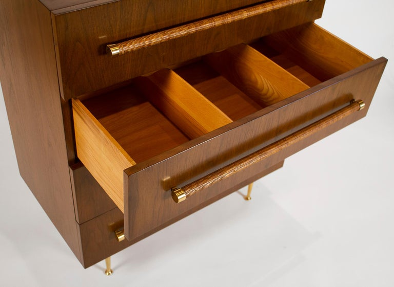 Mid-Century Modern TH Robsjohn Gibbings Chest of Drawers in Walnut with Cane Handles For Sale