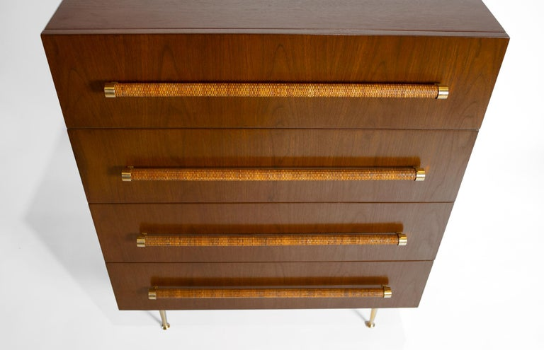 American TH Robsjohn Gibbings Chest of Drawers in Walnut with Cane Handles For Sale