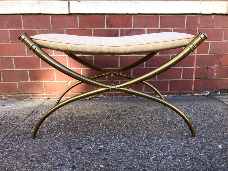 American T.H. Robsjohn-Gibbings Custom Brass Curule Bench for the Kandell Residence For Sale