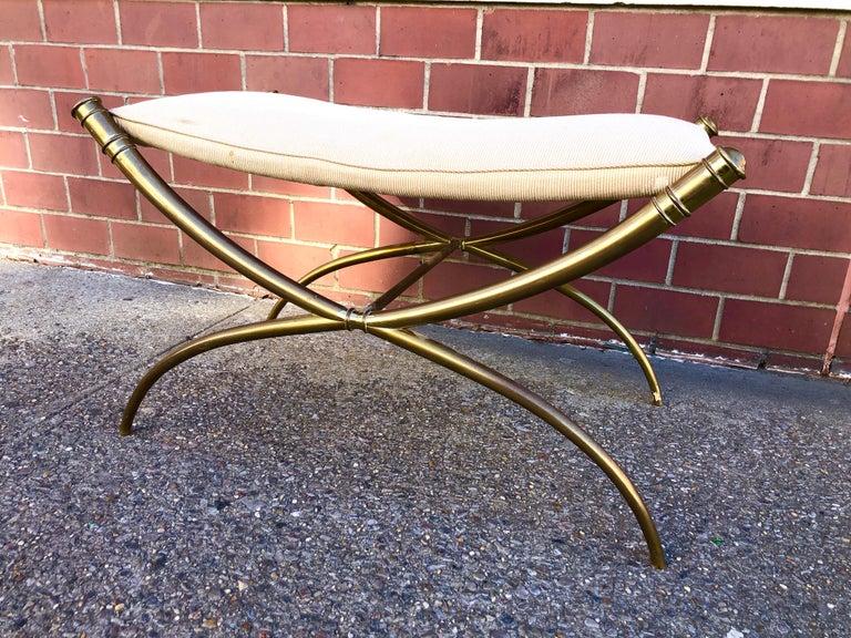T.H. Robsjohn-Gibbings Custom Brass Curule Bench for the Kandell Residence In Good Condition For Sale In Hudson, NY