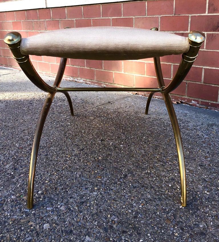T.H. Robsjohn-Gibbings Custom Brass Curule Bench for the Kandell Residence For Sale 2