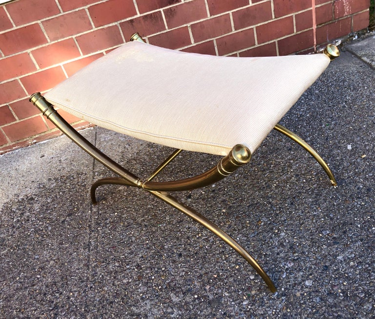T.H. Robsjohn-Gibbings Custom Brass Curule Bench for the Kandell Residence For Sale 3