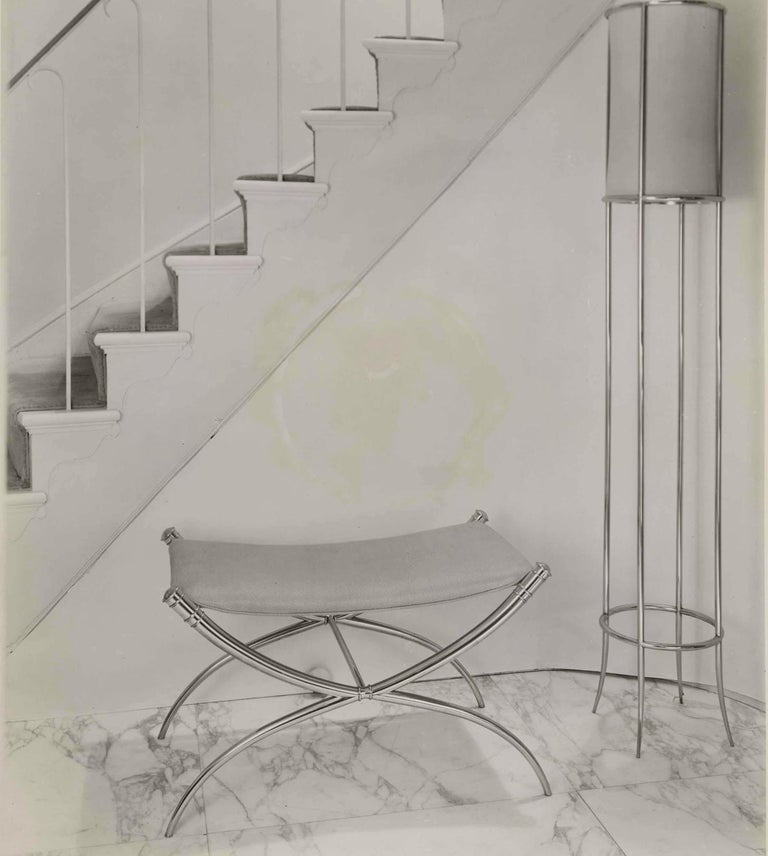 Likely one-of-kind solid cast brass stool bench, weighing roughly 75 lbs, that stood at the entrance foyer to the Penthouse apartment at the original Ritz Carlton on Park Ave. South. This 1953 Robsjohn-Gibbings commission by the buildings owners,