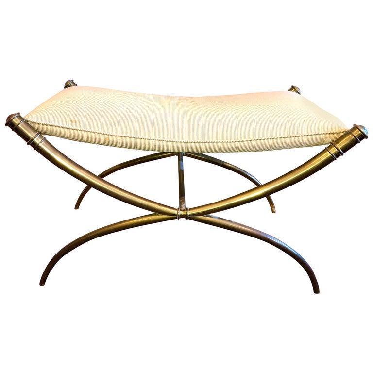 T.H. Robsjohn-Gibbings Custom Brass Curule Bench for the Kandell Residence For Sale