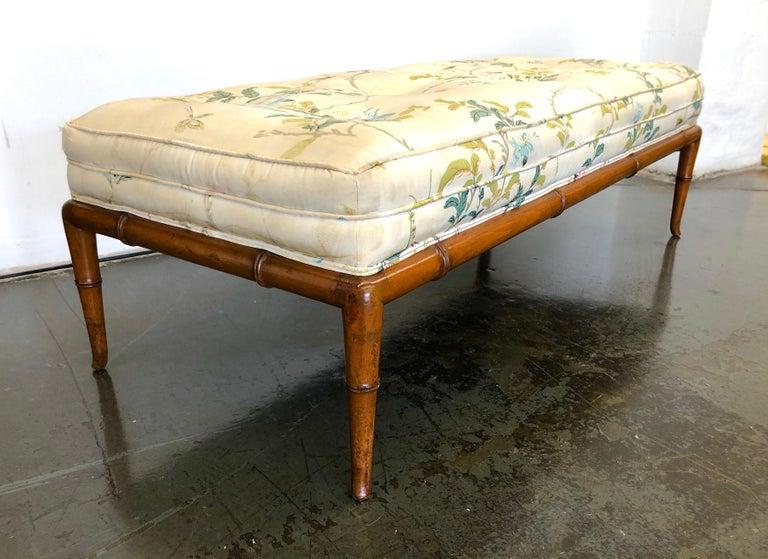 Upholstery T.H. Robsjohn-Gibbings Custom Walnut Bench for the Kandell Residence For Sale