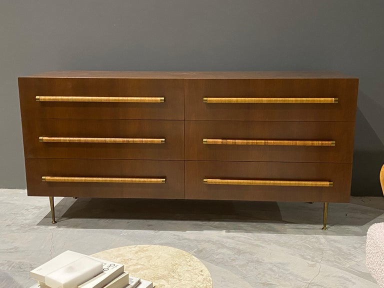 Mid-Century Modern T.H. Robsjohn-Gibbings, Double Dresser in Walnut, Rattan and Brass, circa 1950 For Sale