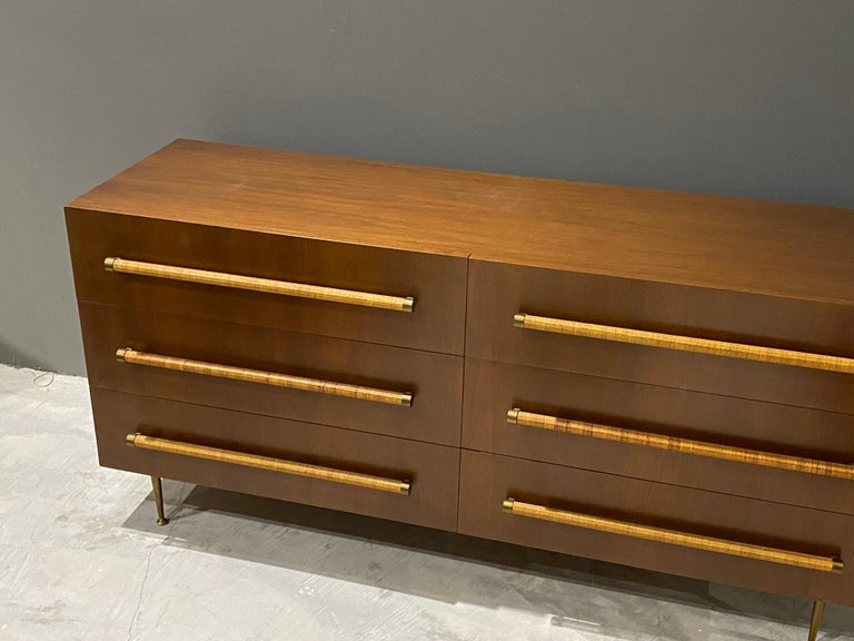 American T.H. Robsjohn-Gibbings, Double Dresser in Walnut, Rattan and Brass, circa 1950 For Sale