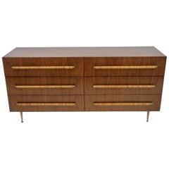 TH Robsjohn Gibbings Double Dresser with Raffia Wrapped Pulls and Brass Legs