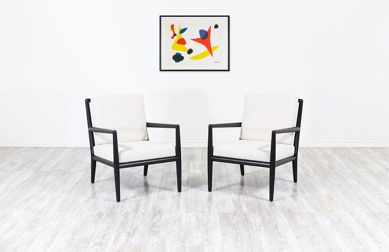 Mid-Century Modern T.H. Robsjohn-Gibbings Ebonized Lounge Chairs for Widdicomb