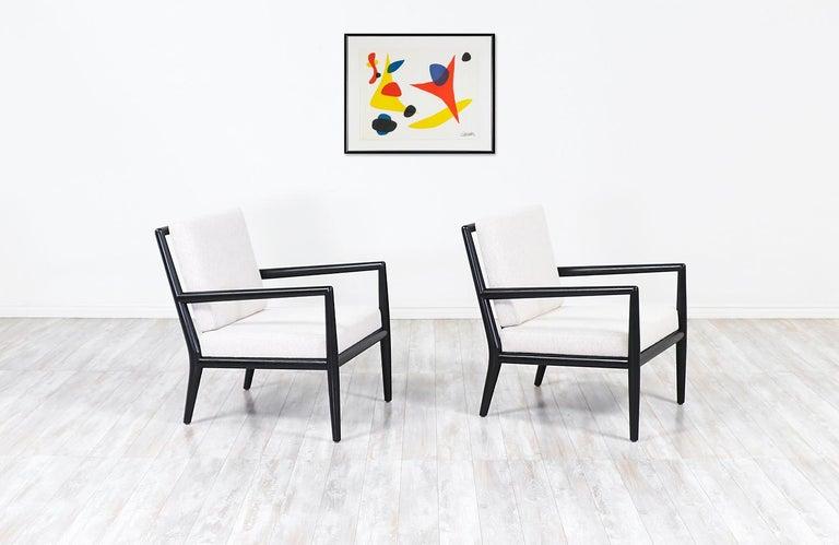 American T.H. Robsjohn-Gibbings Ebonized Lounge Chairs for Widdicomb