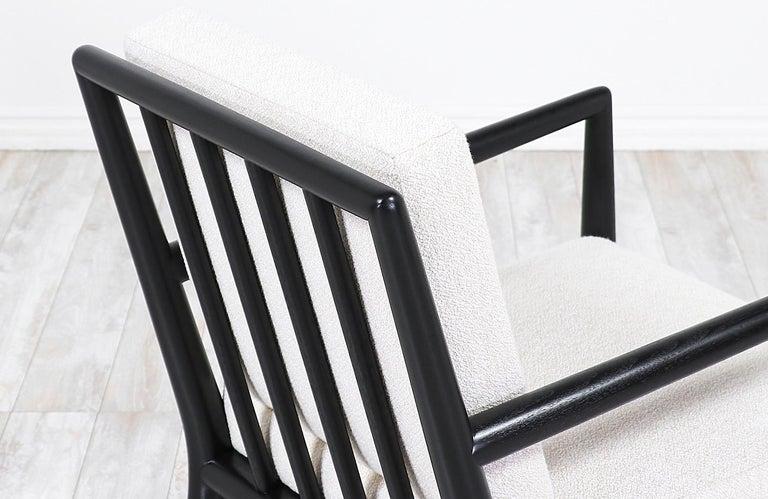 Fabric T.H. Robsjohn-Gibbings Ebonized Lounge Chairs for Widdicomb
