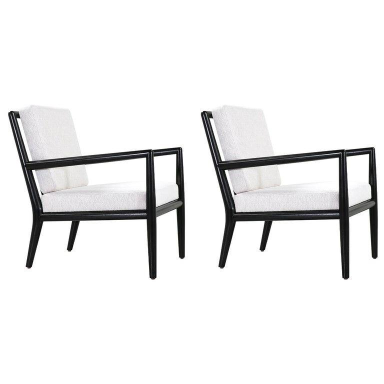 T.H. Robsjohn-Gibbings Ebonized Lounge Chairs for Widdicomb