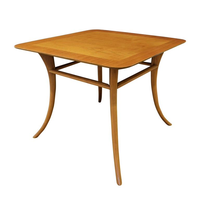 Mid-Century Modern T.H. Robsjohn-Gibbings End Table in Walnut with Klismos Legs, 1956 'Signed' For Sale