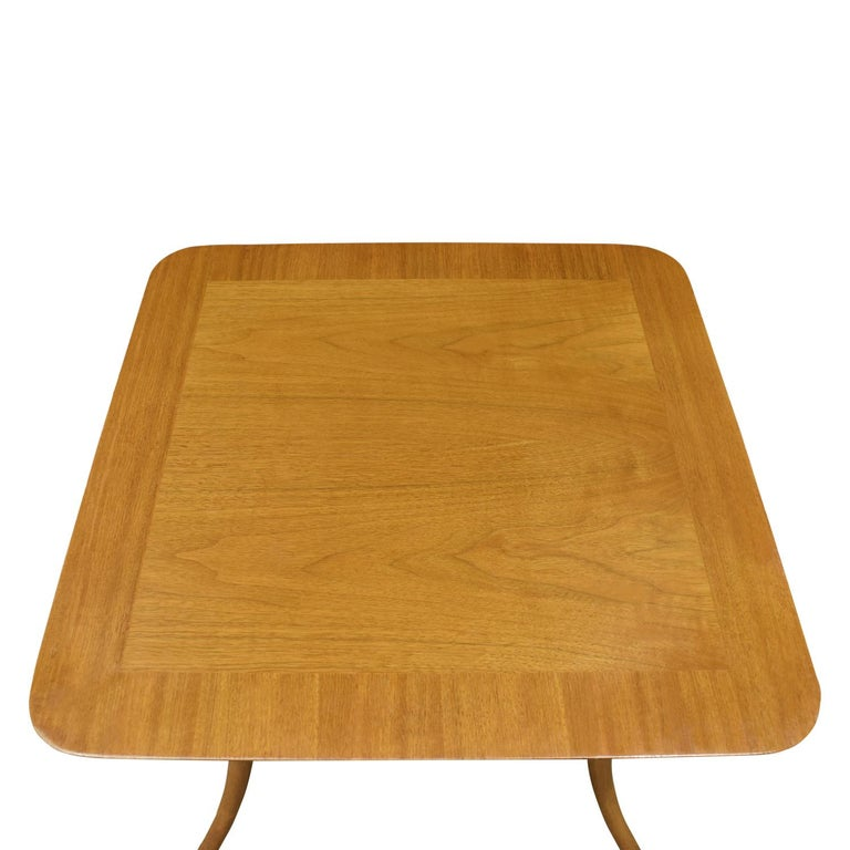 American T.H. Robsjohn-Gibbings End Table in Walnut with Klismos Legs, 1956 'Signed' For Sale
