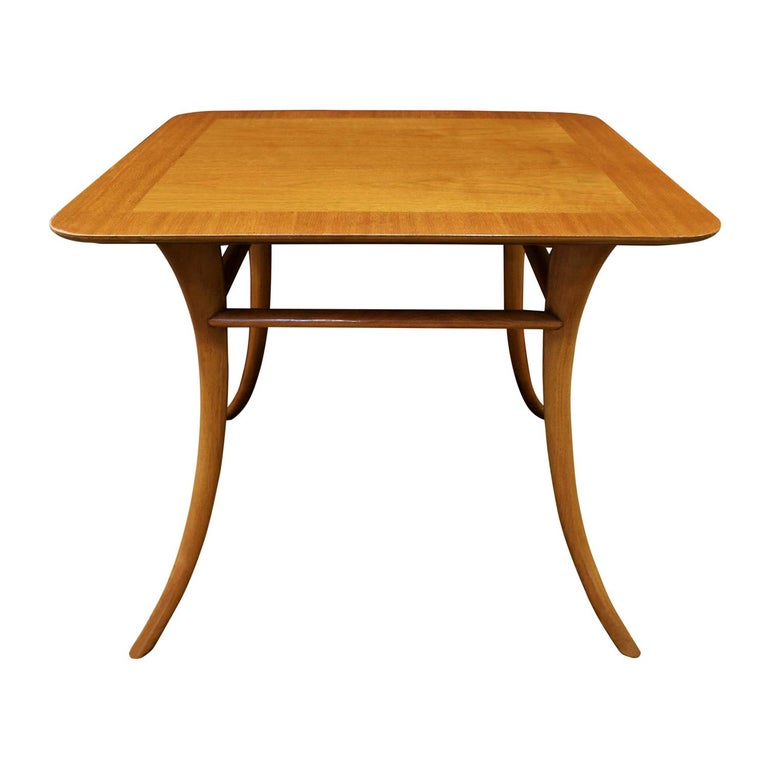 T.H. Robsjohn-Gibbings End Table in Walnut with Klismos Legs, 1956 'Signed' For Sale