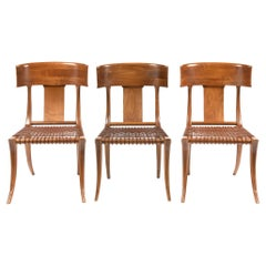T.H. Robsjohn-Gibbings for Saridis Klismos Chairs in Walnut with Leather Thongs