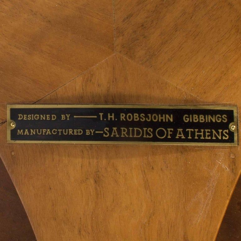 T.H. Robsjohn-Gibbings for Saridis of Athens Circular Trapeza Table In Excellent Condition For Sale In New York, NY