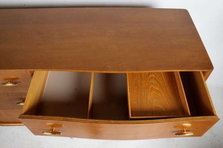 Mid-Century Modern T.H. Robsjohn-Gibbings for Widdicomb Dresser with 24k Gold Porcelain Hardware For Sale