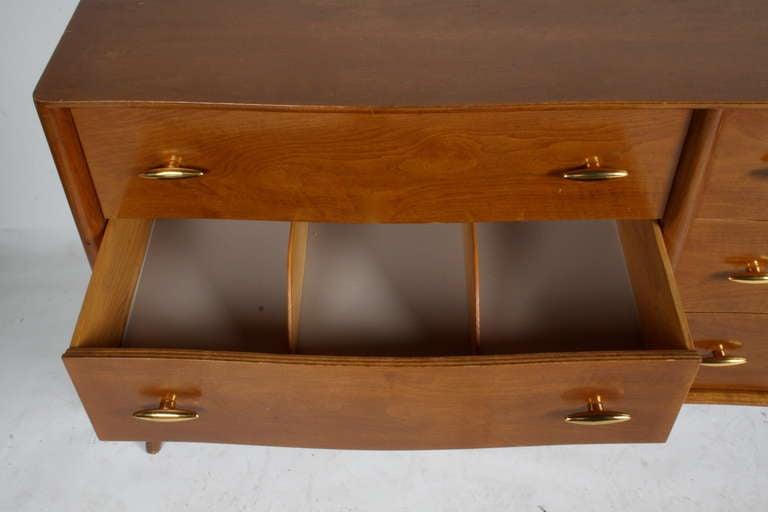 American T.H. Robsjohn-Gibbings for Widdicomb Dresser with 24k Gold Porcelain Hardware For Sale