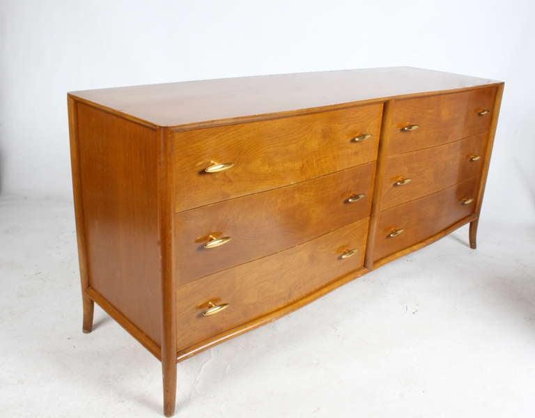 Stained T.H. Robsjohn-Gibbings for Widdicomb Dresser with 24k Gold Porcelain Hardware For Sale