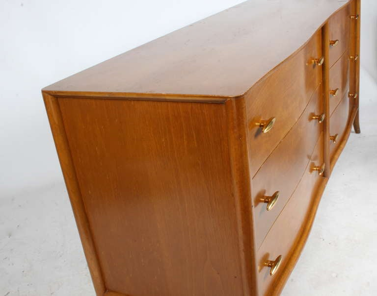 T.H. Robsjohn-Gibbings for Widdicomb Dresser with 24k Gold Porcelain Hardware In Good Condition For Sale In St. Louis, MO