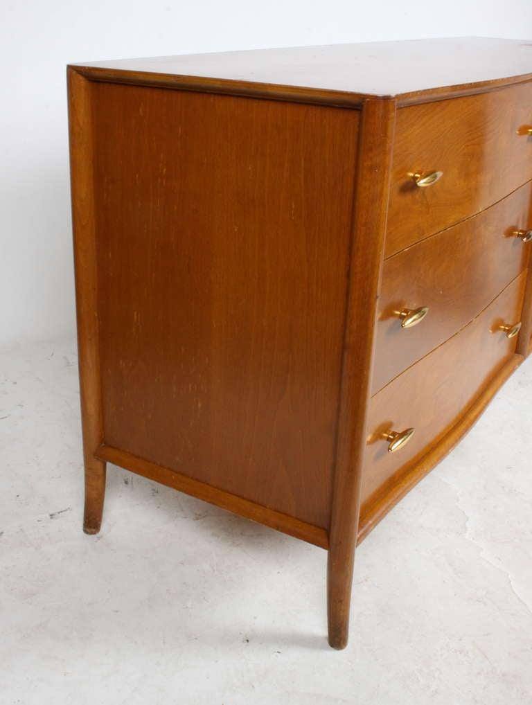 Mid-20th Century T.H. Robsjohn-Gibbings for Widdicomb Dresser with 24k Gold Porcelain Hardware For Sale