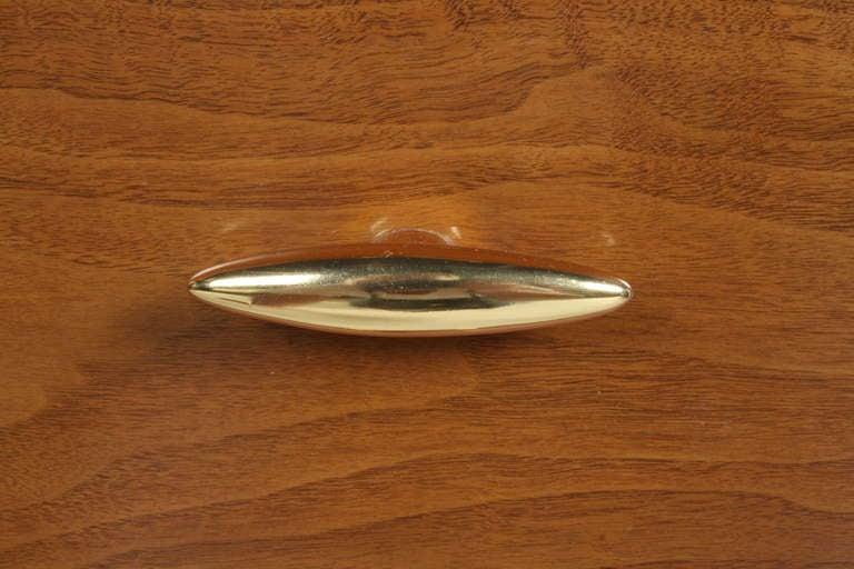 Walnut T.H. Robsjohn-Gibbings for Widdicomb Dresser with 24k Gold Porcelain Hardware For Sale